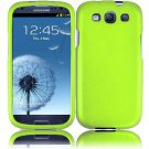 Hard Plastic Rubberized Snap On Case Cover for Samsung Galaxy S3 III – Neon Green