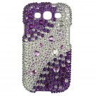 Hard Plastic Bling Rhinestone Snap On Cover Case for Samsung Galaxy S3 III – Purple and Silver