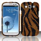 Hard Plastic Bling Rhinestone Snap On Cover Case for Samsung Galaxy S3 III – Golden Zebra