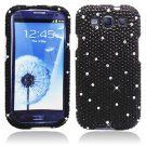 Hard Plastic Bling Rhinestone Snap On Cover Case for Samsung Galaxy S3 III – Black Diamond