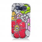 Hard Plastic Bling Rhinestone Snap On Cover Case for Samsung Galaxy S3 III – Colorful Flowers