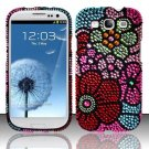 Hard Plastic Bling Rhinestone Snap On Cover Case for Samsung Galaxy S3 III – Fall Flowers