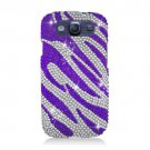 Hard Plastic Bling Rhinestone Snap On Cover Case for Samsung Galaxy S3 III – Purple Zebra