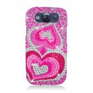 Hard Plastic Bling Rhinestone Snap On Cover Case for Samsung Galaxy S3 III – Dual Pink Hearts