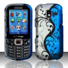 Blue Vines Hard Plastic Rubberized Design Case for Samsung Intensity III SCH U485 (Verizon)