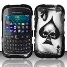 Spade Skull Hard Plastic Rubberized Snap on Case BlackBerry Curve 9310/9320 (Verizon/Boost Mobile)