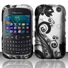 Black Vines Hard Plastic Rubberized Snap on Case BlackBerry Curve 9310/9320 (Verizon/Boost Mobile)