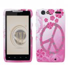 Hard Plastic Rubber Feel Design Case for Motorola Droid RAZR XT912 - Love Peace Sign