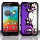 Hard Plastic Rubberized Snap On Case for Motorola Photon Q 4G LTE XT897 (Sprint) – Purple Vines