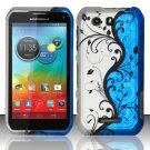 Hard Plastic Rubberized Snap On Case for Motorola Photon Q 4G LTE XT897 (Sprint) – Blue Vines