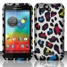 Hard Plastic Rubberized Snap On Case for Motorola Photon Q 4G LTE XT897 (Sprint) – Rainbow Leopard