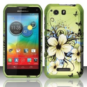 Hard Plastic Rubberized Snap On Case Motorola Photon Q 4G LTE XT897 (Sprint) � Flower Butterfly