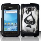 Hard Plastic Snap On Rubberized Design Case for Samsung Rugby Smart i847 - Spade Skull