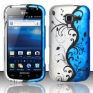 Hard Plastic Rubberized Snap On Design Case for Samsung Exhilarate i577 (AT&T) - Blue Vines