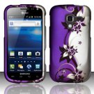Hard Plastic Rubberized Snap On Design Case for Samsung Exhilarate i577 (AT&T) - Purple Vines