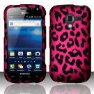 Hard Plastic Rubberized Snap On Design Case for Samsung Exhilarate i577 (AT&T) - Hot Pink Leopard