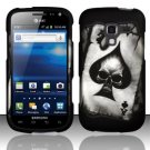 Hard Plastic Rubberized Snap On Design Case for Samsung Exhilarate i577 (AT&T) - Ace Spade Skull