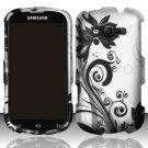 Hard Plastic Rubberized Snap On Case for Samsung Galaxy Reverb M950 (Sprint/Virgin) - Black Vines