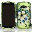 Hard Plastic Rubberized Snap On Case Samsung Galaxy Reverb M950 (Sprint/Virgin) - Flowers Butterfly