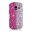 Hard Plastic Bling Design Case for Samsung Intensity 3 III SCH U485 (Verizon) - Silver and Pink