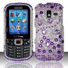 Hard Plastic Bling Design Case for Samsung Intensity 3 III SCH U485 (Verizon) - Purple and Silver