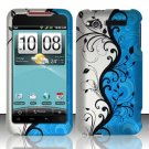 Hard Plastic Rubber Feel Design Case for HTC Merge 6325 - Silver and Blue Vines