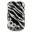 Hard Plastic Design Case for Blackberry Bold 9900/9930 - Silver Zebra and Stars