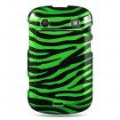 Hard Plastic Design Case for Blackberry Bold 9900/9930 - Black and Green Zebra