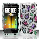 Hard Plastic Bling Rhinestone Design Cover Case for HTC Vivid/Holiday - Rainbow Leopard