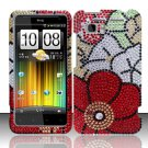 Hard Plastic Bling Rhinestone Design Cover Case for HTC Vivid/Holiday - Fall Flowers