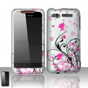 Hard Plastic Rubber Feel Design Case for HTC Merge 6325 - Silver and Pink Vines