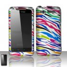 Hard Plastic Rubber Feel Design Case for HTC Merge 6325 - Rainbow Zebra