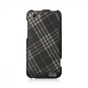 Hard Plastic Rubberized Snap On Design Case for HTC One V (Virgin Mobile) - Smoke Diagonal Check