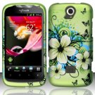 Hard Plastic Rubberized Snap On Case Cover Huawei myTouch Q U8730 (T-Mobile) – Flowers Butterfly