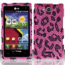 Hard Plastic Bling Rhinestone Design Case for LG Lucid 4G (Verizon) - Hot Pink Leopard