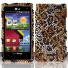 Hard Plastic Bling Rhinestone Design Case for LG Lucid 4G (Verizon) - Golden Cheetah