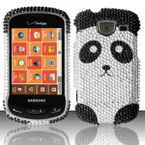 Hard Plastic Bling Rhinestone Design Case for Samsung Brightside U380 - Cute Panda Bear