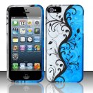 New Hard Plastic Rubberized Snap On Case Cover for Apple iPhone 5 – Silver & Blue Vines