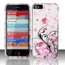 New Hard Plastic Rubberized Snap On Case Cover for Apple iPhone 5 – Silver & Pink Vines