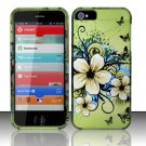 New Hard Plastic Rubberized Snap On Case Cover for Apple iPhone 5 – Green Flowers & Butterfly