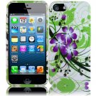 New Hard Plastic Snap On Design Case Cover for Apple iPhone 5 – Green and Purple Lily