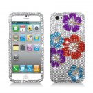 Hard Plastic Bling Rhinestone Snap On Case Cover for Apple iPhone 5 - Flowers Pedal