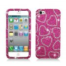 Hard Plastic Bling Rhinestone Snap On Case Cover for Apple iPhone 5 - Hot Pink Hearts