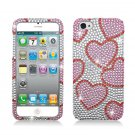 Hard Plastic Bling Rhinestone Snap On Case Cover for Apple iPhone 5 - Pink Hearts