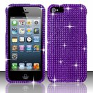Hard Plastic Bling Rhinestone Snap On Case Cover for Apple iPhone 5 - Purple