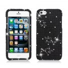 Hard Plastic Bling Rhinestone Snap On Case Cover for Apple iPhone 5 - Black Diamond