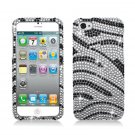 Hard Plastic Bling Rhinestone Snap On Case Cover for Apple iPhone 5 - Silver and Black Zebra