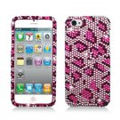 Hard Plastic Bling Rhinestone Snap On Case Cover for Apple iPhone 5 - Pink Leopard