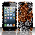 Hard Plastic Bling Rhinestone Snap On Case Cover for Apple iPhone 5 - Tiger