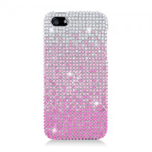 Hard Plastic Bling Rhinestone Snap On Case Cover for Apple iPhone 5 - Pink Waterfall